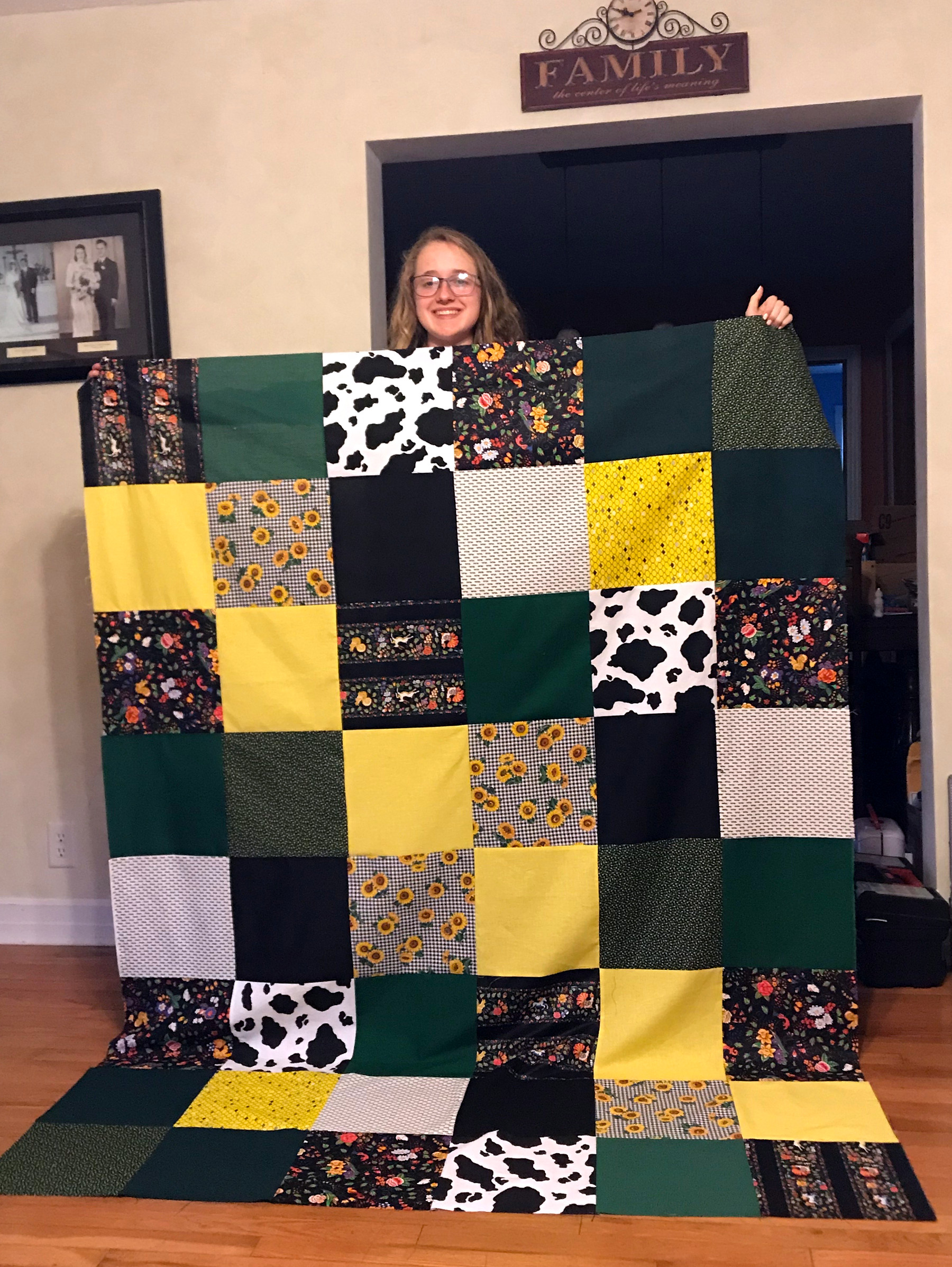Girl with quilt